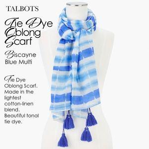 Talbots Tie Dye Oblong Scarf Biscayne Blue Multi